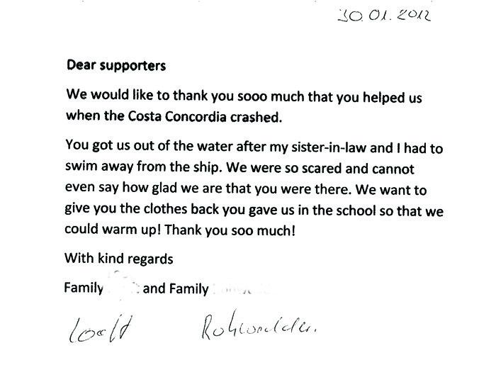 Il ringraziamento dal mondo ai gigliesi. Le lettere e le mail dai naufraghi alla popolazione