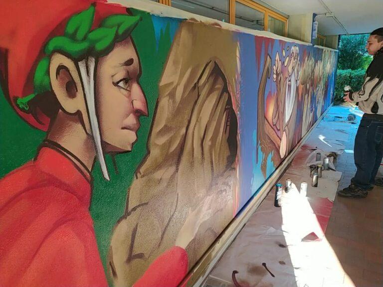 Un murale di 15 metri e terzine in chiave rap, Dante è pop a Bagno a Ripoli